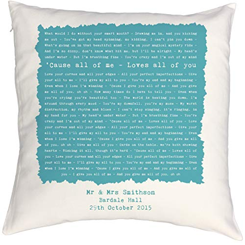 Not Just A Print Personalised Song Lyrics Pillow Cushion Case, Perfect Colourful 2nd 'Cotton' Anniversary, Wedding, Birthday or Valentines Gift - John Legend 'All Of Me'