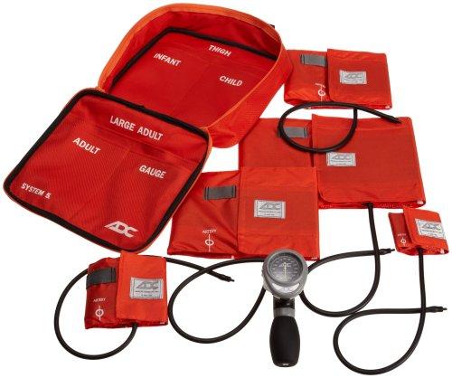 ADC - 740-OR Multikuf 740 5-Cuff EMT Kit with 804 Portable Palm Aneroid Sphygmomanometer, Child, Small Adult, Adult, Large Adult,Black Nylon Zipper Storage Case, Orange