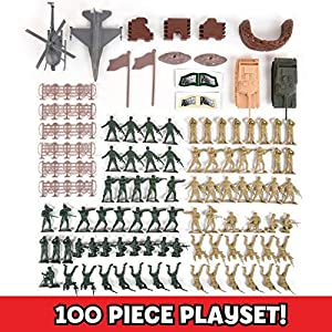 Military Battle Group Bucket – 100 Assorted Soldiers and Accessories Toy Play Set For Kids, Boys and Girls | Plastic Army Men Figures with Storage Container