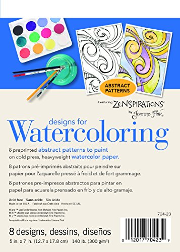 Strathmore (704-23-1 Designs for Watercoloring 140 lb. Cold Press Pad, Abstract, 8 Sheets
