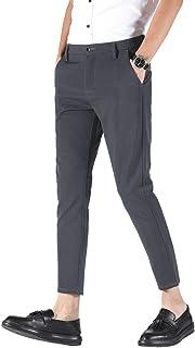 Plaid&Plain Men's Stretch Skinny Fit Casual Business Pants Ankle Dress Pants