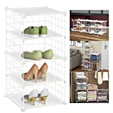 ACPOP 5-Tier Shoe Rack Organizer, Metal Mesh Wire Sturdy Storage Cubes with Dividers, Stackable, Modular and Adjustable Tall Shoe Shelves for Closets, Floor, Entryway, Garage, Cubby, White (12 x 12 IN)