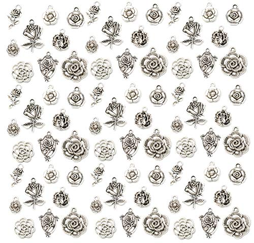 90 Pack 3D Rose Pendant Flower Charms Antique Silver Bracelet Necklace Jewelry Making Beads for Birthday Christmas Valentine's Gift