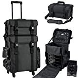 Stagiant Professional Rolling Makeup Case Soft Sided Cosmetology Organizer Wheeled Nylon Train Case Portable Travel Supply Station for Makeup Artist Nail Technician Hair Stylist Crafters