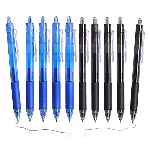 Bolígrafo Borrable Punta 0.7 mm, Juego de 10 bolígrafos retráctiles de gel borrables para escribir en la escuela y la oficina (Negro, Azul)