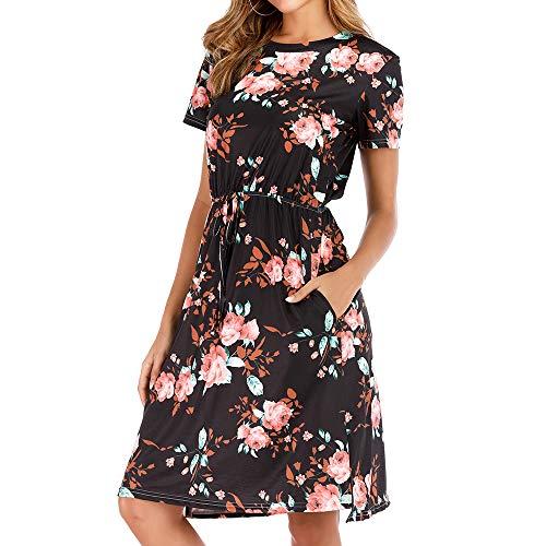 Pearl Angeli Blumen Damen Kleid Casual Kurzarm Kleider Kurz Knielang für Frühling Sommer (Schwarz, L)