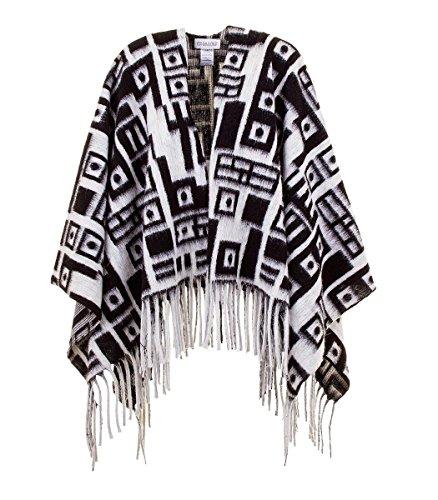 Chalou Damen Fransen Strick Poncho Winterponcho Pullover Cape, Schwarz Weiß, Größe:Einheitsgröße