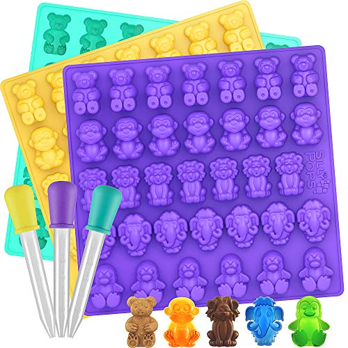 Large Gummy Bear Mold Bpa Free - Set of 3 - 5 Animals - 3 Droppers, Silicone Gummy Molds, Candy Mold