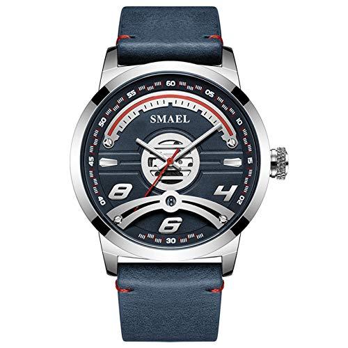 JTTM Relojes Militares para Hombre Reloj Deportivo De Cuero De Cuarzo Impermeable con Fecha Informal,Azul