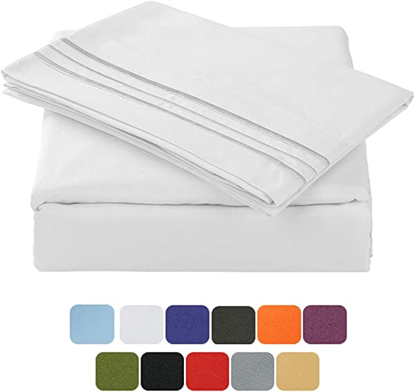 TASTELIFE 105 GSM Deep Pocket Bed Sheets Set Brushed Hypoallergenic Microfiber 1800 Bedding Sheets Wrinkle Fade Stain Resistant 4 Piece White Queen