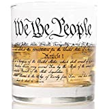 WHISKEY GLASS   CONSTITUTION   360 Print Design   Commercial Grade Heavy Weighted Base 11oz Rock Glasses   Made in USA from LUCKY SHOT
