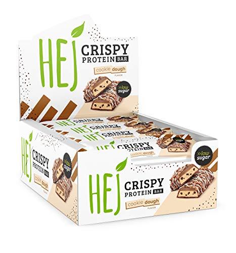 HEJ Crispy Protein Bar | Cookie Dough - 12 x 45 g | Schokoladiger Protein Riegel | Eiweißriegel | Wenig Zucker | High Protein