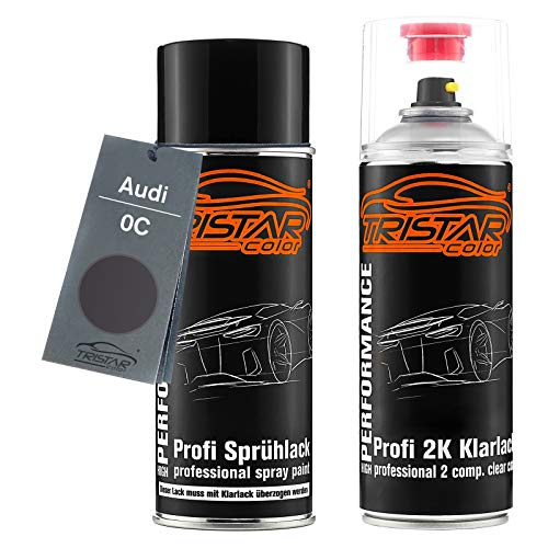 Preisvergleich Produktbild TRISTARcolor Autolack 2K Spraydosen Set für Audi 0C Monsungrau Metallic / Monsoon Grey Metallic Basislack 2 Komponenten Klarlack Sprühdose
