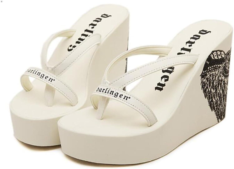 Summer Beach Flip Flops Wedge Slipper Clip Toe Women's Sandals High Heel,White,40
