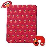 Sesame Street Elmo 3 Piece Plush Kids Travel Set with Neck Pillow, Blanket, & Eye Mask (Official Sesame Street Prodcut)