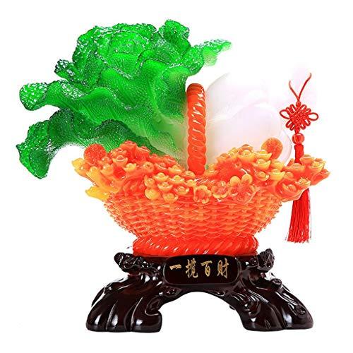 Decoración de Escritorio Miniatura Jardín Craft Una Cesta de la Col Figura de Resina de la Estatua de la Mascota del Ornamento del Arte del Regalo de Inicio Adornos de Escritorio (Color : A)