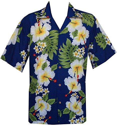 Camicie stile hawaiano con stampa fiore di ibisco festa sulla spiaggia Aloha Blue Medium