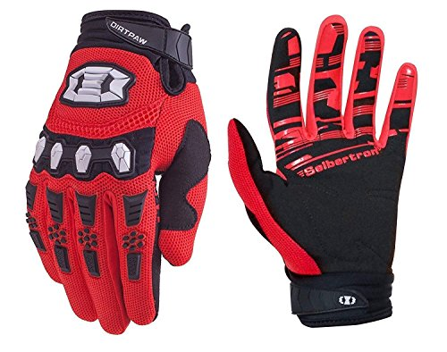 Seibertron Youth Dirtpaw BMX MX ATV MTB Racing Mountain Bike Bicycle Cycling Off-Road/Dirt Bike Gloves Road Racing Motorcycle Motocross Sports Gloves Touch Recognition Full Finger Glove Red M
