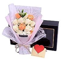 バレンタインデークリエイティブギフトシミュレーションソープローズブーケギフトボックス、520タナバタ告白彼女の誕生日記念日のガールフレンドのための誕生日プレゼントバレンタインデー母の日レディースプレゼ,イエロー