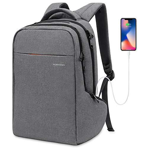 NORSENS Umweltfreundlichen Laptop Rucksack 15,6 Zoll Business Notebook Rucksack, Grau (+USB)