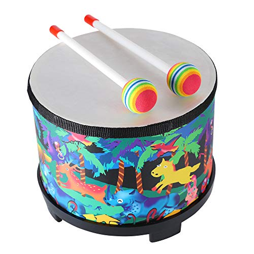 Floor Tom Drum for Kids 8 inch Montessori Percussion Instrument Music Drum Toys with 2 Mallets for Baby Children Special Christmas Birthday Gift