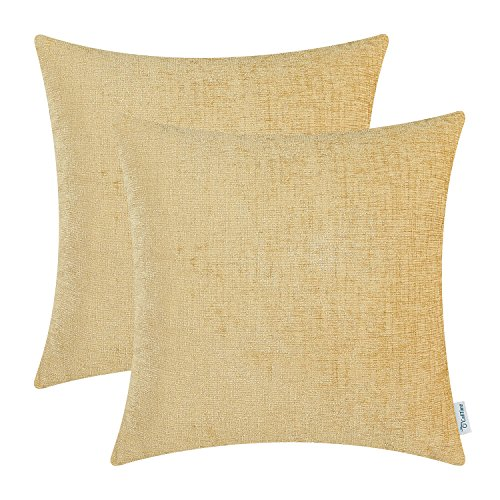 CaliTime Pack of 2 Cozy Throw Pillow Covers Cases for Couch Sofa Home Decoration Solid Dyed Soft Chenille 18 X 18 Inches Gold