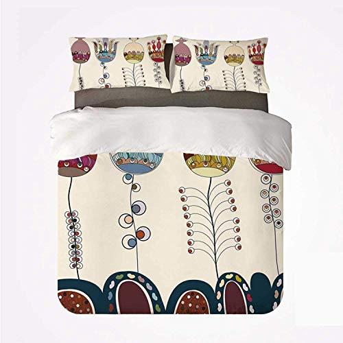 Jardín estilizado lindo paisaje de dibujos animados con flores, pájaros y formas abstractas coloridas ,Juego de ropa de cama con funda nórdica de microfibra y 2 funda de almohada - 140 x 200 cm