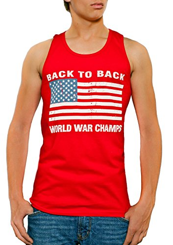 Back To Back World War Champs USA Flag Men's Tank Top Red (Large)