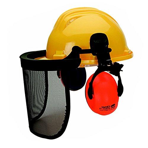 Bouwhelm met gezichtsbescherming en gehoorbescherming hoofdbescherming helm bosbouwhelm net geel