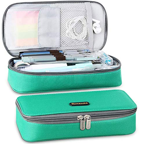 Homecube Big Capacity Pencil Pen Case Large Storage Bag Pouch Holder Box Desk Organizer with Zipper Stationery School & Office Supplies - Green