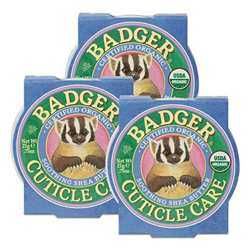 Badger - Cuticle Care, Soothing Shea Butter Cuticle Balm, Certified Organic, Nourish and Protect Cuticles and Nails, Fingernail Care, Protect Dry Splitting Cuticles, 0.75 oz (3 Pack)