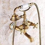 NNshoes Badewanne Armatur Handdusche mit Keramik Ventil Zwei Griffen Zwei Bohrungen für Messing antik Wasserhahn, enthalten Dusche,Antique