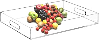 Furniwish Clear Acrylic Serving Tray with Handles for Breakfast