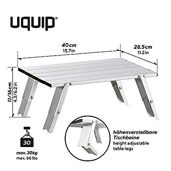 Uquip Handy - Table Basse Pliante en Aluminium ? Réglable en 2 Hauteurs (11/16 cm)