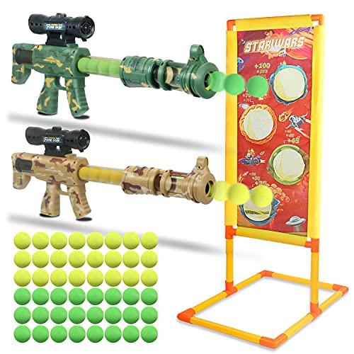Cohotek Shooting Game - Pistola de Juguete con Objetivo de Tiro, 2 Piezas Lanzador Pelotas Espuma y 48 Bolas de Espuma, Regalo Cumpleaños y Fiestas Niño/a 5-12 Años