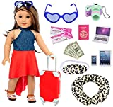 Ecore Fun 16 Pcs Doll Travel Suitcase Play Set for American 18 Inch Doll, Including Doll Luggage Sunglasses Camera Computer Phone Pad Travel Pillow Blindfold Passport Tickets Cashes