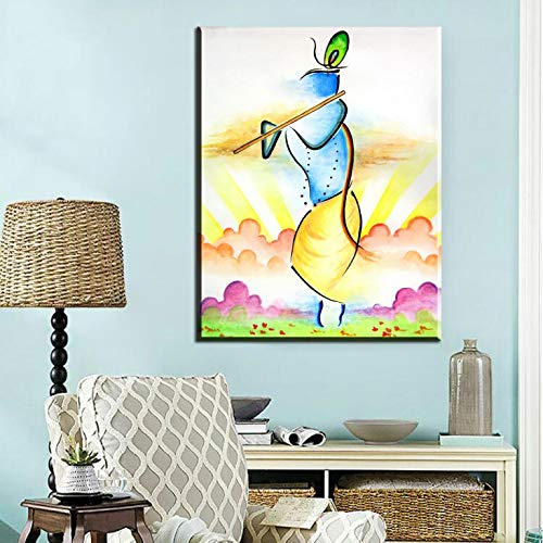 Abstrakter Mann spielt Musik Leinwand Kunstdruck Poster Musikstil Kunst kreative Dekoration Poster rahmenlose dekorative Leinwand Malerei Z74 60x90cm