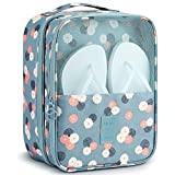 Shoe Bags for Travel,Mossio Shoe Storage Bag Tote Pouch with Mesh and Handle Blue Flower