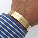 Wide Gold Cuff Bracelet for Men- 14K Gold Filled Personalized Cuff - Arabic Bracelet