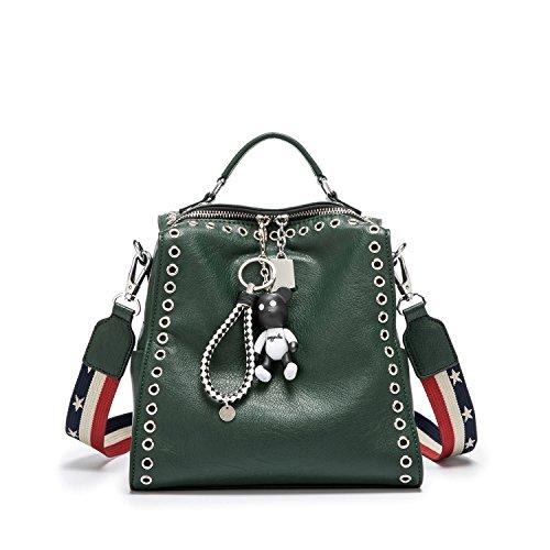 DEERWORD Damen Rucksackhandtaschen Schultertaschen Schulrucksack Tagesrucksack Laptoptasche Leder Dunkelgrün