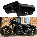 YHMTIVTU Motorcycle Saddle Bags PU Leather Tool Bag Swingarm Bag Fit for Harley Sportster XL 883 1200 Suzuki Yamaha Left and Right Side