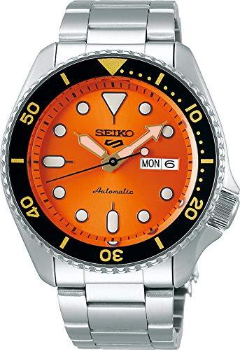 Seiko 5 Sports Orologio Analogico Automatico Uomo con Cinturino in Acciaio SRPD59K1, Arancio, 9K1