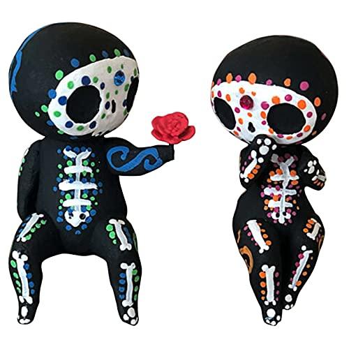 Yiihappy Sugar Skull Couple Statue - Resin Crafts Cute Statue Skull - Skull Head Skeleton Figurine Statue Display - Crafts Resin Sugar Skull Couple Statue Cute Statue Skull Resin Flower Delivery (A)