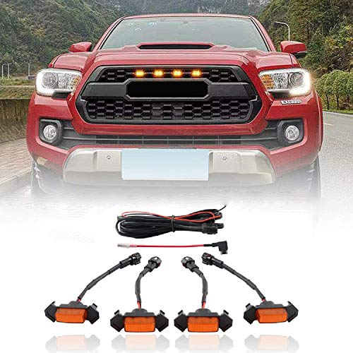 ZGAUTO Grille LED Amber Lights With Fuse Adapter Compatible with Aftermarket Toyota TACOMA TRD PRO Grille 2016-2019(4 Piece,Yellow)