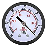 Manometro , Akozon 0 ~ -30inHg 0 ~ -1bar Mini quadrante da 50 mm Manometro per vuoto d'aria Manometro per...