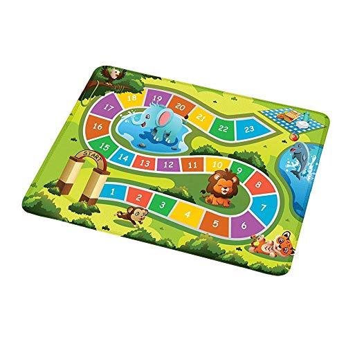 Rutschfeste rechteckige Mousepad-Kinderaktivität, Picknick im Wald Bunter Weg zur Decke mit freundlichen Tieren, mehrfarbig für Kinder