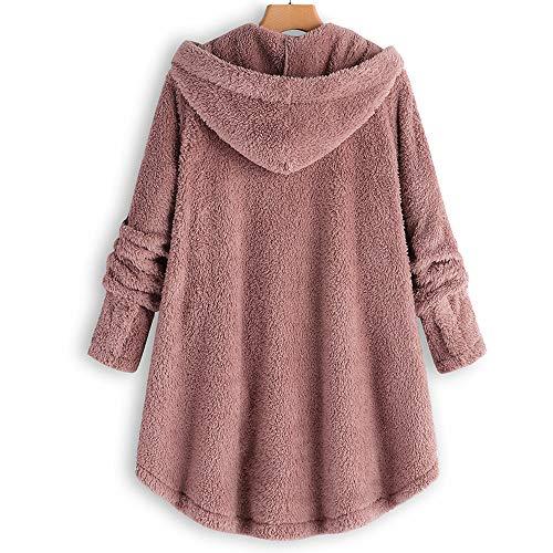 riou Mujer Sudadera con Capucha para Mujer tamaño Grande suéter para Mujer otoño e Invierno Camisa de Manga Larga Chaqueta Caliente botón de Felpa Descuento