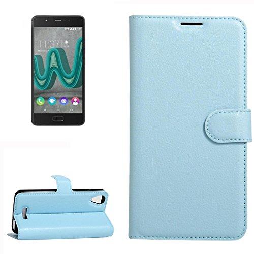 YUCPING Handyhülle Litchi Texture Horizontal Riff Ledertasche Mit Halter und Card Slots und Geldbörse for Wiko U Feel Go (Color : Blue)