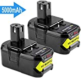 [2 Pack] Hochstern 5.0Ah/5000mAh Lithium remplacement de batterie pour Ryobi 18V ONE + RB18L50 RB18L40 RB18L25 P108 P107 P104 P105 P106 P102 P103 Outils Sans Fil avec indicateur à LED