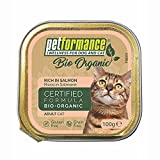 Alimento Umido per Gatti Adulti - Biologico, Senza Glutine e Senza Cereali - Ideale per Gatti con Intolleranze - 17 Vaschette da 100 gr, Salmone